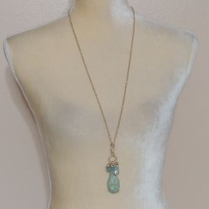 New Blue Green Gold Shimmer Long Necklace